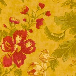 VINTAGE FIND!! Chocolat Quilting Fabric Tan with Large Red Flowers by 3 Sisters for MODA