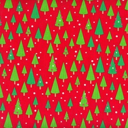 Christmas Candy - Fat Quarter - Trees on Red - by Doodlebug Designs for Riley Blake Designs