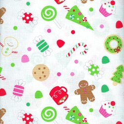 "18"" Remnant - Christmas Candy - Main Print in White - by Doodlebug Designs for Riley Blake Designs"