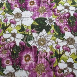 "16"" Remnant- Nature's Walk Violet Floral by Leeré Aldrich for Clothworks"
