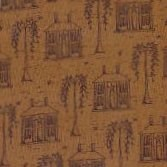 "18"" Remnant - Vintage Find!  Colonial Inn Brown Houses Cotton Fabric by Whimsicals -"