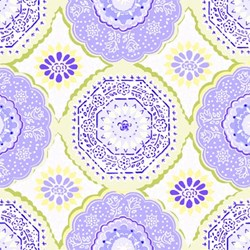 "END OF BOLT - 46""- Dream A Little Dream - Tilework in Blue & Yellow - by Keri Beyer for In The Beginning Fabrics"