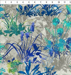 "End of Bolt - 80"" _ Dreamscapes - Large Blue Green Florals Pattern"