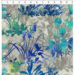 Dreamscapes - Large Blue Green Florals Pattern