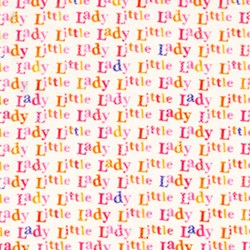 "End of Bolt - 67"" - Little Lady Saying in White by Lakehouse Dry Goods"