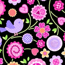 Sweet Things Bird Floral Vine Black by Holly Holderman of LakeHouse Dry Goods