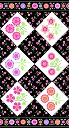 "35"" Remnant - Sweet Things Floral Panel Black by Holly Holderman of LakeHouse Dry Goods"