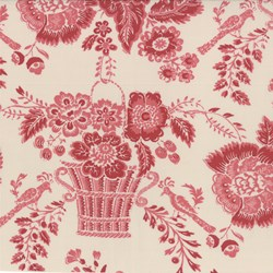 Red Floral on Blanche - Le Bouquet Fracais by French General for Moda
