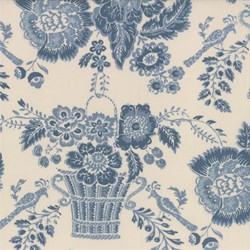 Woad Floral on Blanche - Le Bouquet Fracais by French General for Moda