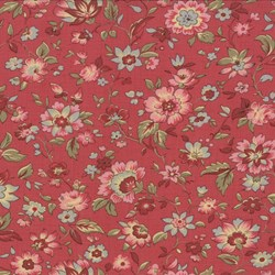 Floral on Faded Red - Le Bouquet Fracais by French General for Moda