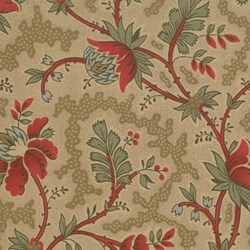 Maison de Garance - Flowers and Vines on Dark Tan - by French General for MODA