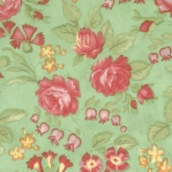 "10"" Remnant Piece- Small Floral on Green- Maypole Quilting Fabric"