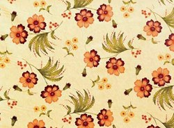"7"" Remnant- Olivia Quilting Fabric - Orange and Purple Flowers on Green"