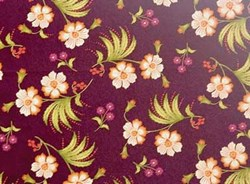 Olivia Quilting Fabric - Cream Flowers on Plum