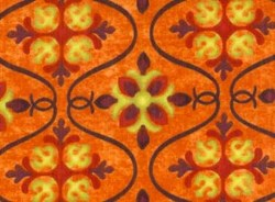 Fat Quarter - Olivia Quilting Fabric - Orange Ogee Patern