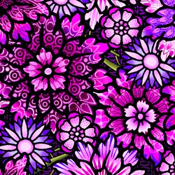 "End of Bolt - 61"" - Paradise - Large Pink/Purple Floral - In The Beginning Fabrics"