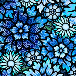 "End of Bolt - 73"" - Paradise - Large Blue Floral - In The Beginning Fabrics"