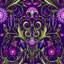 Paradise - Large Purple Floral Vine - In The Beginning Fabrics