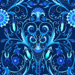 Paradise - Large Blue Floral Vine - In The Beginning Fabrics