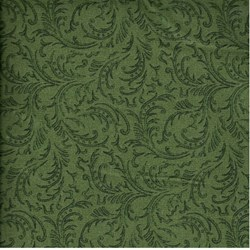 RJR Fabric- Dark Green Scroll Leaves