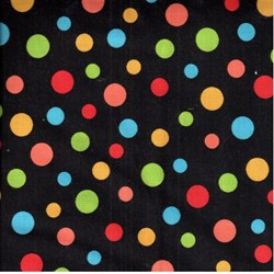 "16"" Remnant Piece - RJR Fabric- Multi Color Dot on Black"
