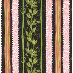 "17"" Remnant Piece Roses Quilting Fabric - Vine Stripe on Black"