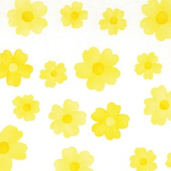 "3 at 17"" by 21"" Remnant- Spring Fever - Yellow Flowers on White"