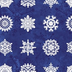 "22"" Remnant Piece - Starry Night - Stonehenge Blue Large Snowflakes - by Northcott"