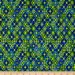 "12"" Remnant - Viva Brazil - Sunsetter Blue/Green - by Kanvas for Benartex Fabrics"