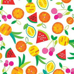 "48"" End of Bolt Piece - Viva Brazil - Fruit Toss on White - by Kanvas for Benartex Fabrics"