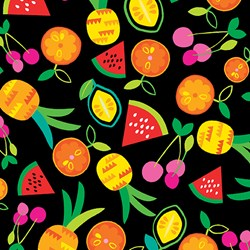 "37"" End of Bolt Piece - Viva Brazil - Fruit Toss on Black - by Kanvas for Benartex Fabrics"