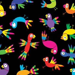 Viva Brazil - Tucan Toss on Black - by Kanvas for Benartex Fabrics