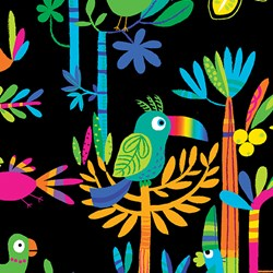 Viva Brazil - Rainforest on Black - by Kanvas for Benartex Fabrics