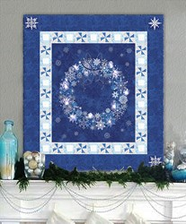 Midnight Blue & Twinkling Lights Christmas Wreath Wall Hanging Quilt Kit Plus Optional Swarovski Hotfix Crystal Pack!