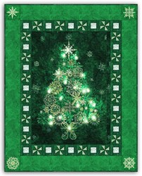 Green - Christmas Tree Bright Lights Starlight Christmas Wallhanging Quilt Kit Plus Optional Swarovski Hotfix Crystal Pack!