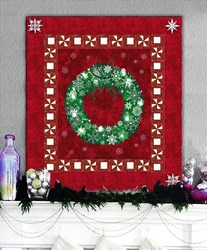 LAST ONE!  Pine Green Wreath on Berry Red Background with Twinkling Lights Christmas Wall Hanging Quilt Kit Plus Optional Swarovski Hotfix Crystal Pack