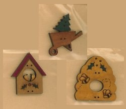 Folkie Hand Made Christmas  Buttons #2
