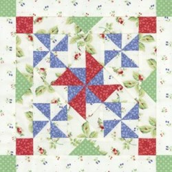 1 Orphan Block - Pinwheels on Parade Patchwork Party 2008 - Winter Edition Block