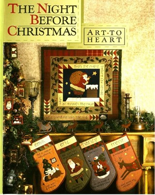 LAST ONE!Vintage Find!  The Night Before Christmas Book & Button Kitby Art To Heart