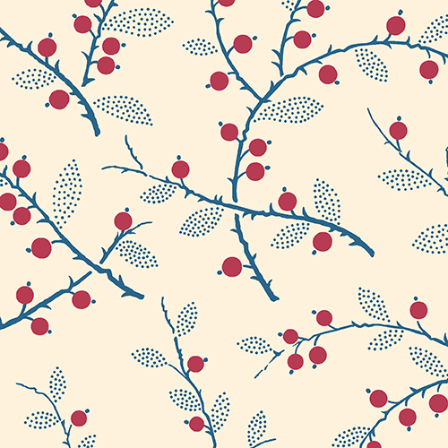 Red Berry And Twigs Print Lady Mary Downton Abbey