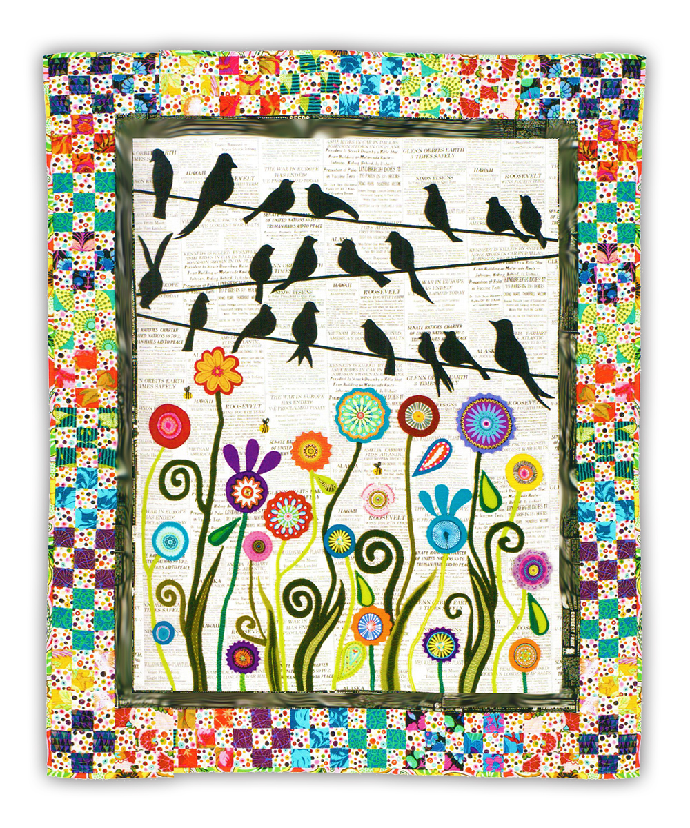 More Back In Stock Bird On A Wire Quilt Kit 2 Applique