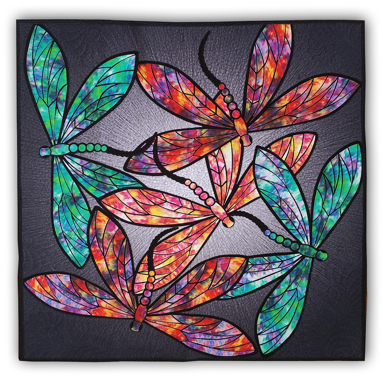 Dance of the Dragonfly Quilt Kit Includes Backing Panel Fabric and Pattern Sapphire Blue Colourway