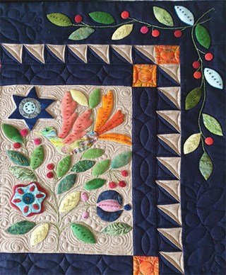 My Enchanted Garden Silk Matka and Wool Applique BOM or All at Once