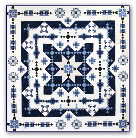 Midwinter Blues Batik Large Wall Size Block Of The Month