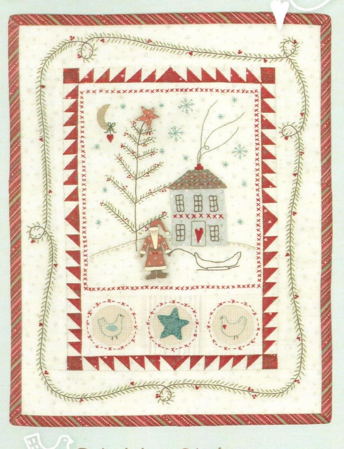 Christmas Quilt Patterns.Primitive Christmas Quilt And Embroidery Pattern With Hand Painted Jolly Santa Button Pack