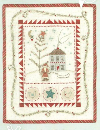 Primitive Christmas Quilt and Embroidery Pattern with Hand-Painted Jolly Santa Button Pack
