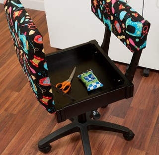 Black Riley Blake Sewing Fabric Height Adjustable Hydraulic Sewing Chair