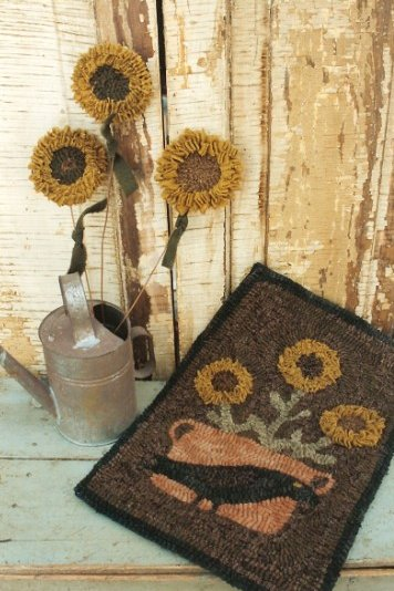 Hooked Potted Sunflower Rug Hooking Pattern By Ermilk Basin Staci West