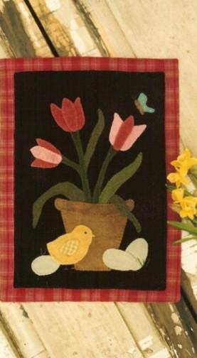 Tulip Basket Wool Applique Pattern By Buttermilk Basin