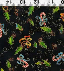 """12"""" Remnant Piece Bountiful Blessings Christmas Quilting Fabric ~ by Laurel Burch - Blacks-Metallic Candy Canes Review"""
